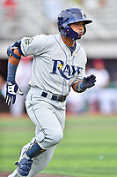 Princeton Rays shortstop Wander Franco (6) runs to first base during a game against the Johnson City Cardinals at TVA Credit Union Ballpark on August 9, 2018 in Johnson City, Tennessee. The Rays defeated the Cardinals 10-2. (Tony Farlow/Four Seam Images)