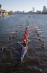 Rowing Regattas, 1980 Rowing Club; Senior-Master Eights Men [50+]; 2006 Head of the Charles Regatta; Boston skyline from the Charles River; Rowers, 2006 Head of the Charles Regatta, Cambridge, Massachusetts, USA. October 21, 2006
