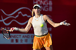 Fanny Stollar of Hungary competes against Dayana Yastremska of Ukraine during the singles first round match at the WTA Prudential Hong Kong Tennis Open 2018 at the Victoria Park Tennis Stadium on 08 October 2018 in Hong Kong, Hong Kong. Photo by Yu Chun Christopher Wong / Power Sport Images