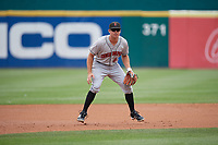 Indianapolis Indians third baseman Eric Wood (14) during a game against the Buffalo Bisons on August 17, 2017 at Coca-Cola Field in Buffalo, New York.  Buffalo defeated Indianapolis 4-1.  (Mike Janes/Four Seam Images)