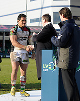 20130317 Copyright onEdition 2013©.Free for editorial use image, please credit: onEdition..Maurie Fa'asavalu of Harlequins receives his winner's medal at the end of the LV= Cup Final between Harlequins and Sale Sharks at Sixways Stadium on Sunday 17th March 2013 (Photo by Rob Munro)..For press contacts contact: Sam Feasey at brandRapport on M: +44 (0)7717 757114 E: SFeasey@brand-rapport.com..If you require a higher resolution image or you have any other onEdition photographic enquiries, please contact onEdition on 0845 900 2 900 or email info@onEdition.com.This image is copyright onEdition 2013©..This image has been supplied by onEdition and must be credited onEdition. The author is asserting his full Moral rights in relation to the publication of this image. Rights for onward transmission of any image or file is not granted or implied. Changing or deleting Copyright information is illegal as specified in the Copyright, Design and Patents Act 1988. If you are in any way unsure of your right to publish this image please contact onEdition on 0845 900 2 900 or email info@onEdition.com