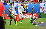 Daniel Sturridge scores for England late in the second half at the Stade Bollaert-Delelis in Lens, France this afternoon during their Euro 2016 Group B fixture.