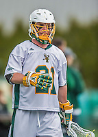 18 April 2015:  University of Vermont Catamount Attacker Michael Clarke, a Sophomore from Rumson, NJ, takes a breather after scoring against the University of Hartford Hawks at Virtue Field in Burlington, Vermont. The Cats defeated the Hawks 14-11 in the final home game of the 2015 season. Mandatory Credit: Ed Wolfstein Photo *** RAW (NEF) Image File Available ***
