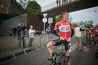 a relaxed Jurgen Van den Broeck (BEL/Lotto-Belisol) at the start<br /> <br /> Liège-Bastogne-Liège 2014