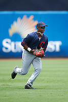 Khalil Lee (11) of Flint Hill High School in Centreville, Virginia playing for the Cleveland Indians scout team during the East Coast Pro Showcase on July 28, 2015 at George M. Steinbrenner Field in Tampa, Florida.  (Mike Janes/Four Seam Images)