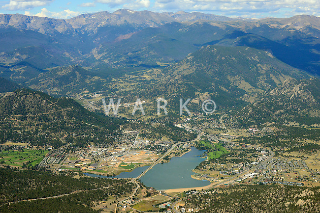 Aerial of Estes Park, Colorado. Sept 2, 2013
