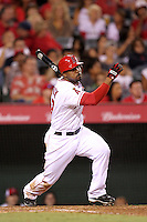 Los Angeles Angels second baseman Howie Kendrick #47 bats against the Baltimore Orioles at Angel Stadium on August 20, 2011 in Anaheim,California. Los Angeles defeated Baltimore 9-8.(Larry Goren/Four Seam Images)
