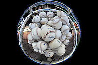 16 August 2008: A basket of Rawlings Baseballs lie ready for batting practice prior to a game between the Colorado Rockies and the Washington Nationals at Nationals Park in Washington, DC.  The Rockies defeated the Nationals 13-6, handing the last place Nationals their 9th consecutive loss. ..Mandatory Photo Credit: Ed Wolfstein Photo