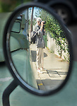 Reflection in the car mirror in Watsons Bay, Sydney, NSW, Australia