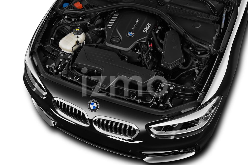 Car stock 2017 BMW 1-Series Sport 5 Door Hatchback engine high angle detail view