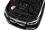 Car stock 2017 BMW 1-Series Sport 5 Door Hatchback engine high angle detail view