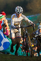 29 NOV 2014 - MILTON KEYNES, GBR - Kevin Pauwels (BEL) from Belgium and the Sunweb-Napoleon Games Cycling Team pushes his bike up a climb during the men's 2014-2015 UCI Cyclo-Cross World Cup round at Campbell Park in Milton Keynes, Great Britain. Pauwels won the race in a time of 1:03:01 (PHOTO COPYRIGHT © 2014 NIGEL FARROW, ALL RIGHTS RESERVED)