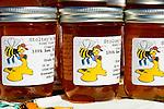 Jars of raw honey, Farmers Market, San Luis Obispo, California