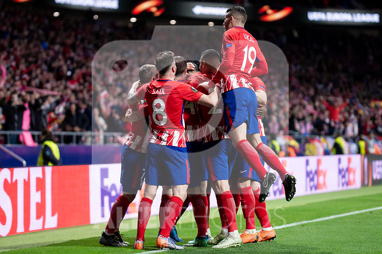 Atletico de Madrid Diego Costa, Saul Niguez, Thomas Partey and Lucas Hernanez celebrating a goal during Europa League Semi Finals First Leg match between Atletico de Madrid and Arsenal FC at Wanda Metropolitano in Madrid, Spain. May 03, 2018.  (ALTERPHOTOS/Borja B.Hojas)