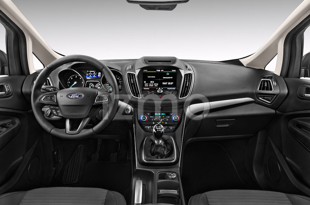Stock photo of straight dashboard view of 2015 Ford Grand C-Max Titanium 5 Door Mini Mpv Dashboard