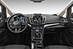 Stock photo of straight dashboard view of 2015 Ford Grand C-Max Titanium 5 Door Mini Mpv Dashboard