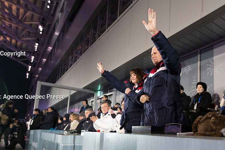 Vice President Mike Pence and Mrs. Karen Pence attend the 2018 Winter Olympics Opening Ceremony at the Pyeongchang Olympic Stadium, Friday, February 9, 2018, in Pyeongchang, South Korea. (Official White House Photo by D. Myles Cullen)