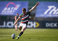 18th April 2021 2021; Recreation Ground, Bath, Somerset, England; English Premiership Rugby, Bath versus Leicester Tigers; George Ford of Leicester Tigers kicks a conversion