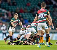 21st May 2021; Twickenham, London, England; European Rugby Challenge Cup Final, Leicester Tigers versus Montpellier; Richard Wigglesworth passes the ball to George Ford of Leicester Tigers