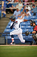 Binghamton Rumble Ponies center fielder Champ Stuart (2) follows through on a swing during a game against the Altoona Curve on May 17, 2017 at NYSEG Stadium in Binghamton, New York.  Altoona defeated Binghamton 8-6.  (Mike Janes/Four Seam Images)