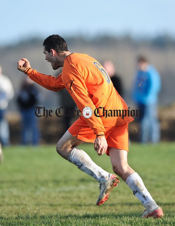 Wanderson Caesar of Coole FC celebrates his winning goal in extra time against West Clare FC during their Cup game at Kilrush. Photograph by John Kelly.