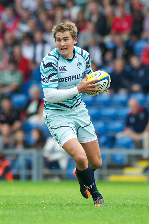 Toby Flood of Leicester Tigers during the Aviva Premiership match between London Welsh and Leicester Tigers at the Kassam Stadium on Sunday 2nd September 2012 (Photo by Rob Munro)