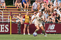 NEWTON, MA - SEPTEMBER 12: Laura Gouvin #8 of Boston College looks to pass during a game between Holy Cross and Boston College at Newton Campus Soccer Field on September 12, 2021 in Newton, Massachusetts.