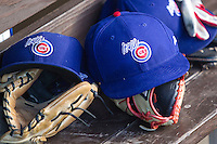 Iowa Cubs hat at the Pacific Coast League baseball game on July 21, 2013 at the Dell Diamond in Round Rock, Texas. Round Rock defeated Iowa 3-0. (Andrew Woolley/Four Seam Images)