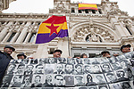 Dozens of people protest in front of the Madrid City Council for the removal of the Almudena cemetery memorial that reminded the victims of the dictator Francisco Franco.<br /> November 26, 2019.<br /> (ALTERPHOTOS/David Jar)