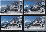 Austria, St Anton.  Stage Technique & Photoshop.<br /> I planned beforehand, then got a little help from Photoshop. I took 5-6 photos using the exact same lens focal length, exposure and composition. Basically, the same photo, just different skiers and snowboarders walking by. Afterwards, it's easy to use the cloning tool and place my subjects just where I want them.
