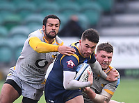 14th February 2021; Sixways Stadium, Worcester, Worcestershire, England; Premiership Rugby, Worcester Warriors versus Wasps; Zach Kibirige and Tom Willis of Wasps tackle Nick David of Worcester Warriors
