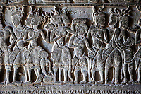 Cambodia, Angkor Wat.  Bas-relief Stone Carving Depicting Scenes from the Mahabharata, Corridor on West Side of Temple.