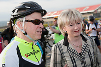 Universite Laval teacher Jean-Marie De Koninck and Quebec Minister of Transport Julie Boulet before the Ride in Silence event in Quebec City May 19, 2010. Ride in Silence is a worldwide event being held tonight to honor those injured or killed while cycling on public roads.<br /> <br /> PHOTO :  Francis Vachon - Agence Quebec Presse