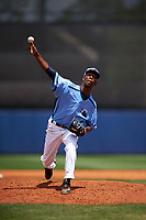 Charlotte Stone Crabs relief pitcher Michael Santos (35) delivers a pitch during a game against the Lakeland Flying Tigers on April 16, 2017 at Charlotte Sports Park in Port Charlotte, Florida.  Lakeland defeated Charlotte 4-2.  (Mike Janes/Four Seam Images)