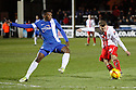 Luke Freeman of Stevenage's shot is blocked by Kgosi Ntlhe of Peterborough<br />  - Peterborough United v Stevenage - Sky Bet League One - London Road, Peterborough - 23rd November 2013. <br /> © Kevin Coleman 2013
