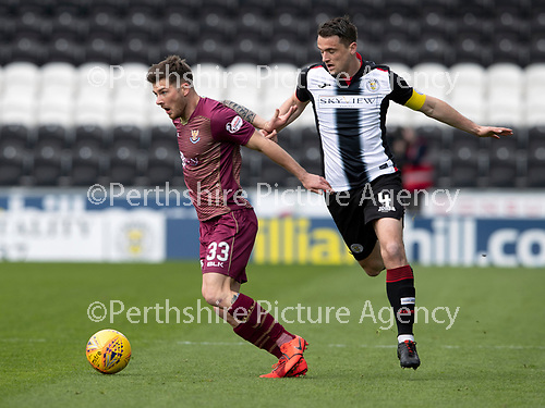 St Mirren v St Johnstone….27.04.19      St Mirren Park        SPFL<br />Matty Kennedy and Stephen McGinn<br />Picture by Graeme Hart. <br />Copyright Perthshire Picture Agency<br />Tel: 01738 623350  Mobile: 07990 594431