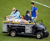 13th February 2021; Twickenham, London, England; International Rugby, Six Nations, England versus Italy; Jack Willis of England is carried from the pitch