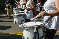 AUSTIN, TEXAS - A high school marching band drum corps plays cadence for the band while marching in the 2016 Central Texas Juneteenth Celebration Parade on Sat. June 18, 2016. <br /> <br /> Use of this image in advertising or for promotional purposes is prohibited.<br /> <br /> Editorial Credit: Photo by Dan Herron / Herron Stock