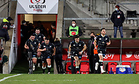 26 February 2021; Rhys Webb leads the Ospreys out during the Guinness PRO14 match between Ulster and Ospreys at Kingspan Stadium in Belfast. Photo by John Dickson/Dicksondigital