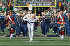 Sept. 26, 2015; The head drum major leads the Notre Dame Marching Band onto the field before the football game against University of Massachusetts at Notre Dame Stadium. (Photo by Barbara Johnston/University of Notre Dame)