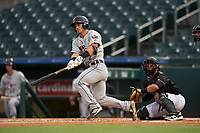 Lakeland Flying Tigers Brady Policelli (7) at bat in front of catcher Nick Fortes (7) during a Florida State League game against the Jupiter Hammerheads on August 12, 2019 at Roger Dean Chevrolet Stadium in Jupiter, Florida.  Jupiter defeated Lakeland 9-3.  (Mike Janes/Four Seam Images)