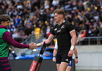 Beauden Barrett (left) congratulates brother Jordie on his try during the Bledisloe Cup rugby union match between the New Zealand All Blacks and Australia Wallabies at Sky Stadium in Wellington, New Zealand on Sunday, 11 October 2020. Photo: Dave Lintott / lintottphoto.co.nz