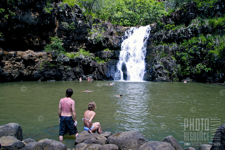 Scenic Waimea Falls and its deep pool offer a cool dip for visitors to the park. Located as part of the Waimea Valley Audubon Center this eco-park offers its visitors a look back on ancient Hawaiian culture as well as gardens, waterfalls, dining and more.