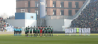 Calcio, Serie A: Sassuolo vs Juventus. Reggio Emilia, Mapei Stadium, 29 gennaio 2017. <br /> Sassuolo and Juventus players observe a minute of silence in memory of victims of the Rigopiano hotel overwhelmed by an avalanche, prior to the start of their Italian Serie A football match at Reggio Emilia's Mapei stadium, 29 January 2017<br /> UPDATE IMAGES PRESS/Isabella Bonotto