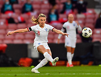 13th April 2021; Bet365 Stadium, Stoke, England; Leah Williamson of England shoots at goal during the womens International Friendly match between England and Canada