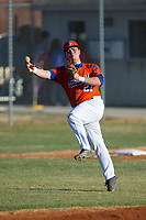 Glenn Bobcats third baseman Tyler Dombek (21) makes a throw to first base during fielding practice prior to the game against the Mallard Creek Mavericks at Dale Ijames Stadium on March 22, 2017 in Kernersville, North Carolina.  The Bobcats defeated the Mavericks 12-2 in 5 innings.  (Brian Westerholt/Four Seam Images)