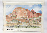 Grand Canyon National Park, Monument Camp, watercolor and charcoal, Journal Art 2009,