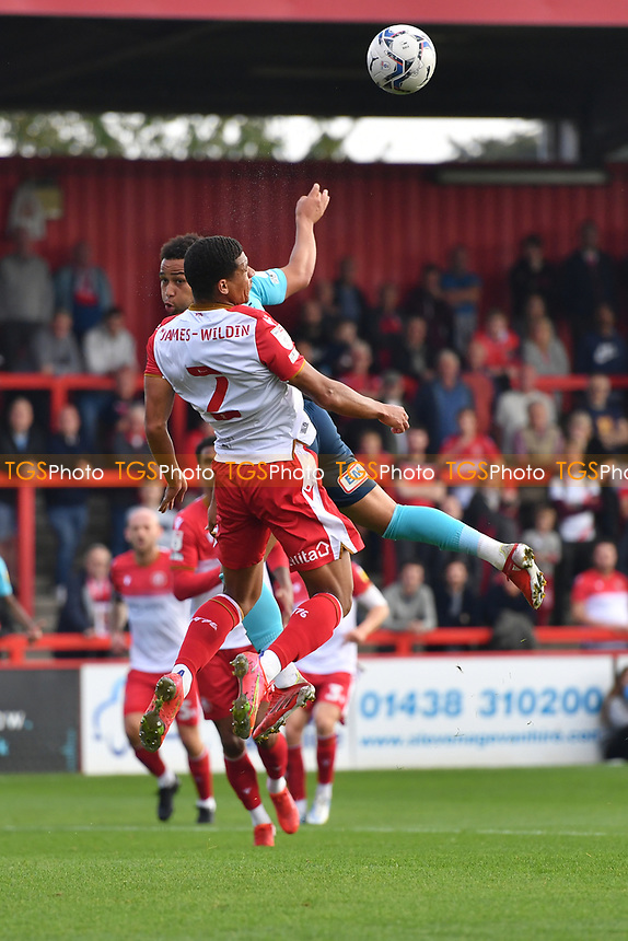 Luther Wildin of Stevenage FC heads clear during Stevenage vs Exeter City, Sky Bet EFL League 2 Football at the Lamex Stadium on 9th October 2021
