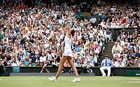 8th July 2021, Wimbledon, SW London, England; 2021 Wimbledon Championships, quarterfinals; Karolina Pliskova of the Czech Republic celebrates victory after the womens singles semifinal between Aryna Sabalenka of Belarus and Karolina Pliskova of Czech Republic