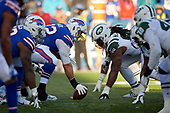 Buffalo Bills center Ryan Groy (72) lines up against Steve McLendon (99) during an NFL football game against the New York Jets, Sunday, December 9, 2018, in Orchard Park, N.Y.  (Mike Janes Photography)